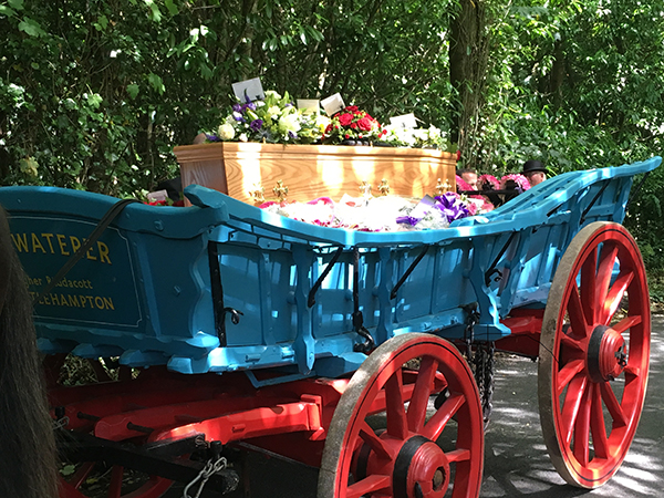 The Sommerset carraige here at Higher Biddacott Farm Horse Drawn funeral services.