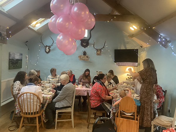 The granary being used for a baby shower in North Devon.