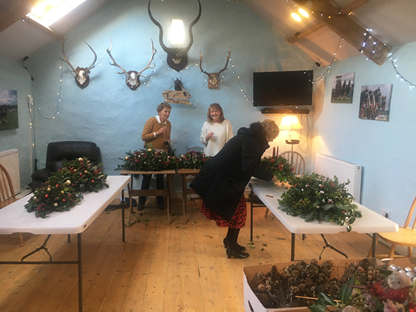 The granary at Higher Biddacott Farm being used for a Christmas decorating class.
