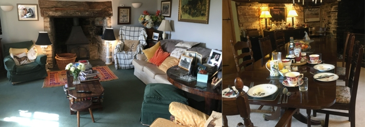 Enjoy a relaxed sitting room and the authentic dinning room while on holiday at Higher Biddacott Farm.
